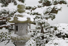 Japanese Stone Lantern with Snow