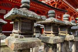 Japanese Stone Lanterns in Nara Park Japan