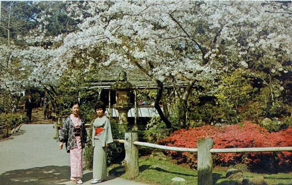 Two Ladies at the Japanese Tea Garden San Francisco Postcard