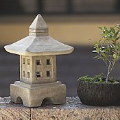 Stone Japanese Garden Lantern Ash Oki-gata for sale by Oriental Furnishings